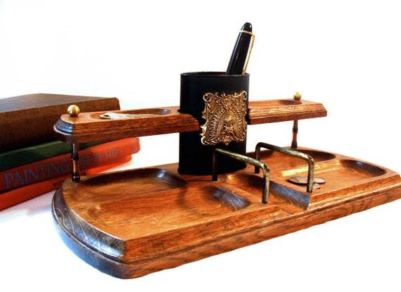 Vintage Mens Dresser Valet Desk Organizer Caddy in Brass & Oak, Great Gift