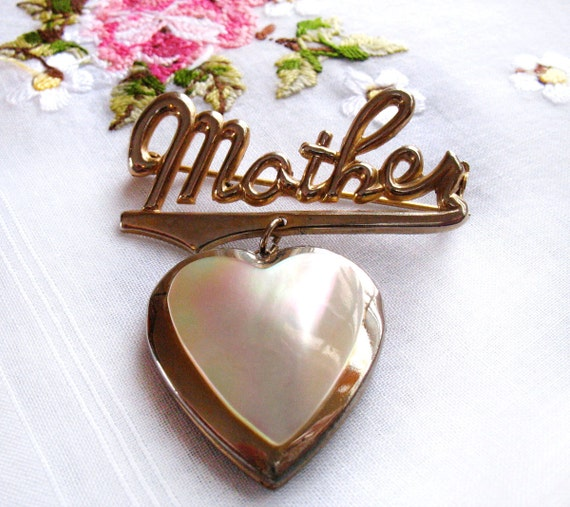 Vintage Mother Heart Locket Brooch Pearl & Gold Pin for Mom FREE SHIPPING for Mother's Day