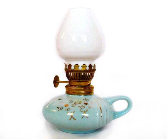 Vintage Oil Lamp Milk Glass & Aqua Ceramic with Retro Gold Stars