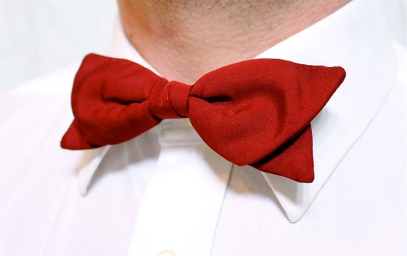 Vintage Bow Tie U-Clip Red 1950s Tuxedo Tie