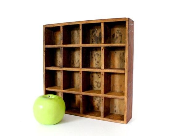 Vintage Wood Box Divided Apothacary Bottle Holder Primitve Wooden Display Shelf Organizer