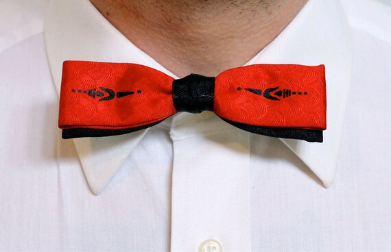 Bright Red Vintage Bow Tie Art Deco Black & Red Clip On Men's Haberdashery
