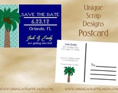 PRINTABLE - By the Sea Save the Date Postcard Style DPC2200 DIGITAL File - Professional Card Stock Printing Available
