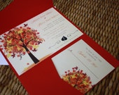 PRINTABLE - Autumn Love Wedding Invitation Suite Style DWIS2015 Digital File - Professional Card Stock Printing Available