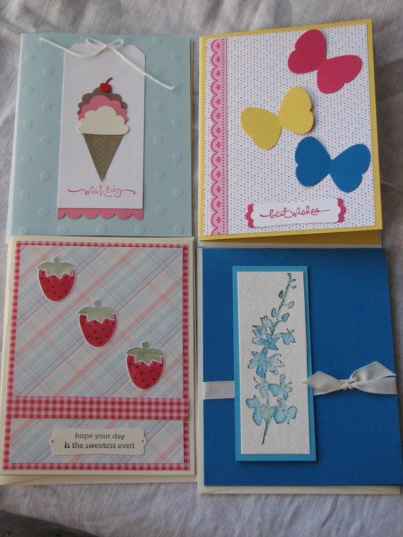 Set of 4 Brightly Colored Hand-Crafted Birthday/Greeting Cards