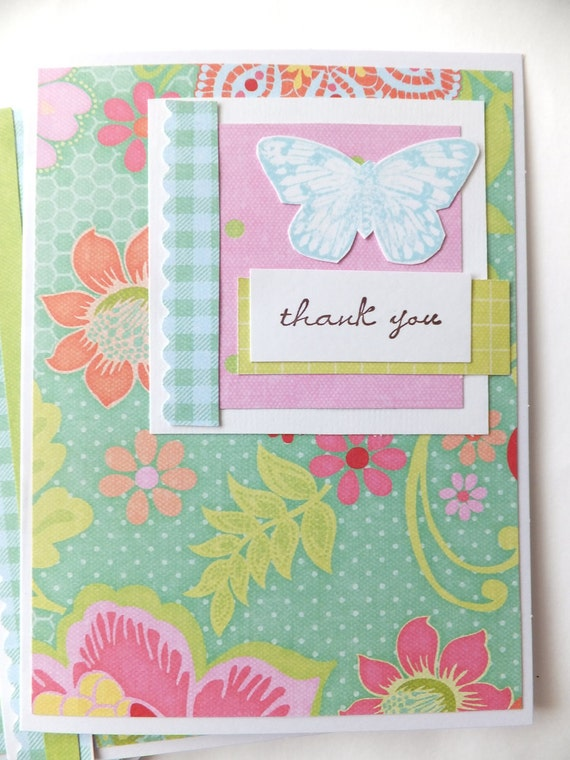 BUTTERFLY 'Thank You' cards, Set of 6, KC COMPANY Sweet Nectar Designer Papers
