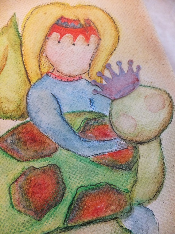 Small Original Painting, TURTLE GIRL II, Bright Colored Watercolor Art on Canvas