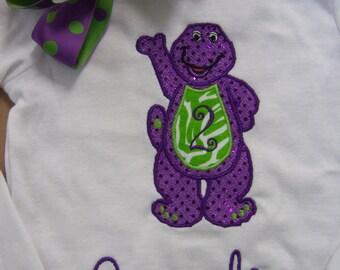 Big Purple Dinosaur  Inspired Shirt and Matching Bow