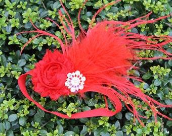 Shabby rose feather headband