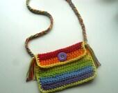 Crochet purse mini rainbow colors