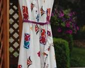 Vintage 70s Floral Print Boho Ruffle Dress