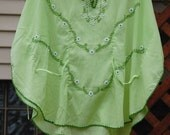Vintage Green Embroidered Batwing Sleeve Shirt