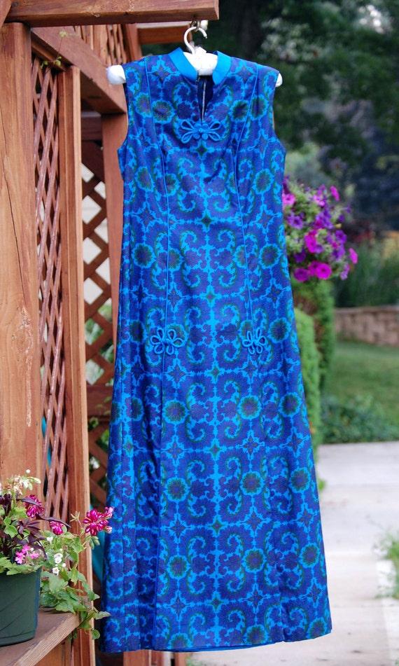 Vintage Blue Silk Asian Style Ethnic Maxi Dress