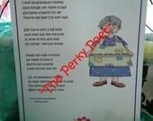 """Grandma's Cookies Poem, Cute, Funny Grandmother by """"The Perky Poet"""""""