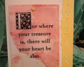 "Christian Card, Spiritual, Scripture Magnet  ""Where Your Treasure Is""  by ""The Perky Poet"""