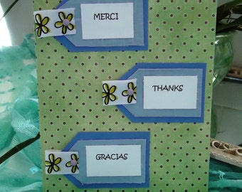 """Thank You Card, Cute, Colorful - Thanks, Merci, Gracias by """"The Perky Poet"""""""