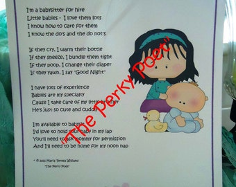 """Babysitter for Hire Poem, Cute Funny by """"The Perky Poet"""""""