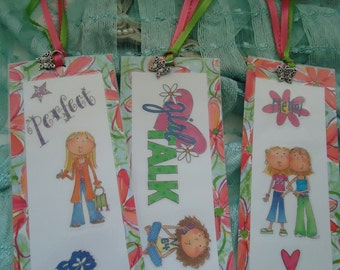 """Girly Bookmarks with Butterfly Charms, Cute - Girl Talk- Set of 3 by """"The Perky Poet"""""""