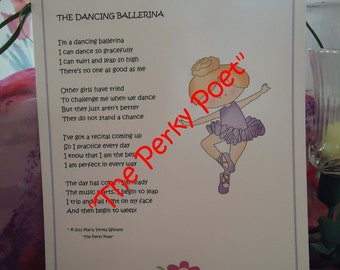 """The Dancing Ballerina Poem, Cute, Funny, Dancer by """"The Perky Poet"""""""