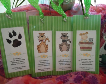 """Cat, Bookmarks, Cute - Kitty Love II - Mega Charms (Lime Dot) - Set of 4 by """"The Perky Poet"""""""