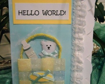"""Baby Boy Card - Cute, Infant, Newborn - Hello World by """"The Perky Poet"""""""