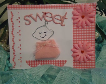 """Baby Girl Card - Cute, Infant, Newborn, Pink - Sweet Wire Baby by """"The Perky Poet"""""""