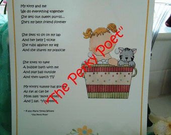 """My Kitty and Me Girl, Cute, Cat Poem by """"The Perky Poet"""""""