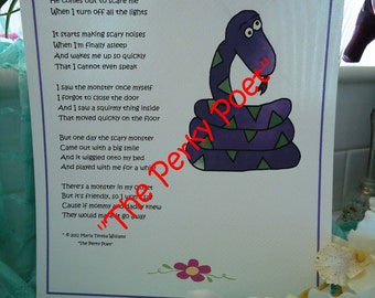 "There's  A Monster In My Closet, Little Girl Poem by ""The Perky Poet"""