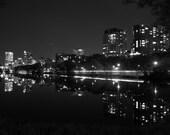 Milwaukee Lagoon Reflection, B&W 8x10
