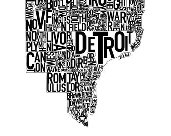 Detroit Typography Map Poster Black