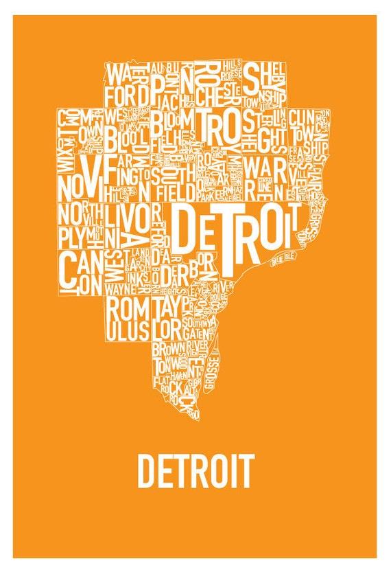 "Detroit Typography Map Poster ""Tigers Orange"""