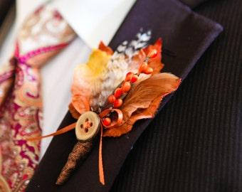 Fall Wedding Boutonniere - Harvest Maple II