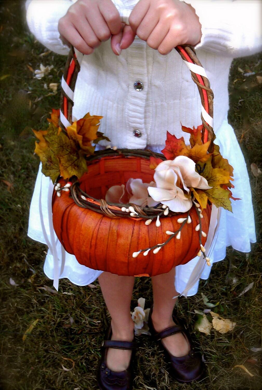 Flower Girl Baskets Fall : Fall wedding pumpkin flower girl basket autumn ivory orange