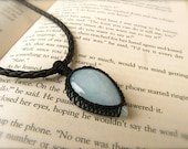Aquamarine Macrame Semi Precious Stone Pendant with FREE leather cord (Stone for COURAGE and inner PEACE)