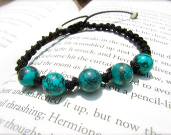 Turquoise Macrame Adjustable Bracelet - Stone of PROTECTION and FRIENDSHIP