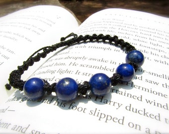 Lapis Lazuli Adjustable Macrame Bracelet - Stone to aid INTUITION and TRUTH