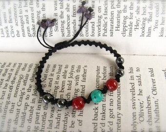 Hematite, Turquoise, and Carnelian Macrame Adjustable Bracelet - Stone of INTUITION, stone for FRIENDSHIP, and stone for STRENGTH