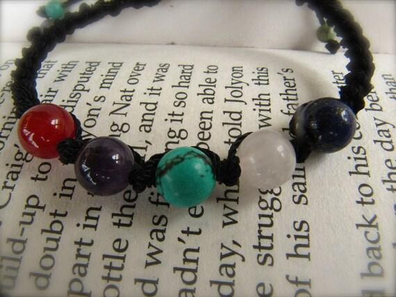 Carnelian, Amethyst, Turquoise, Rose Quartz, Lapis Lazuli  Macrame Adjustable Bracelet - (REIKI HEALING)