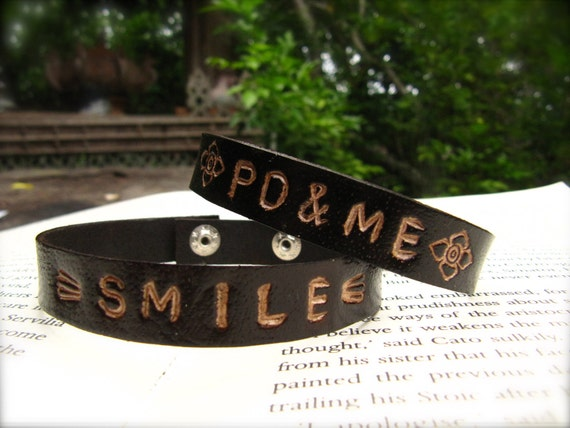 RESERVED Double thick - Leather Stamped Bracelet, custom name or initial - Sleek and Simple Style