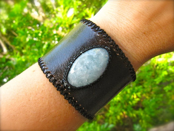 Leather Cuff Bracelet and Macrame Aquamarine Semi Precious Stone Bracelet - Sleek Style (Stone for INNER PEACE and COURAGE)