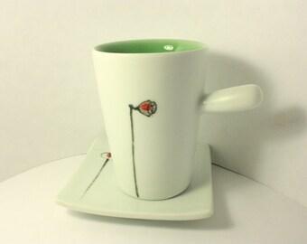 Baby Lotus porcelain coffee mug set