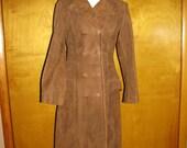 70s Suede Leather Coat Jacket Tan Beige XS SM