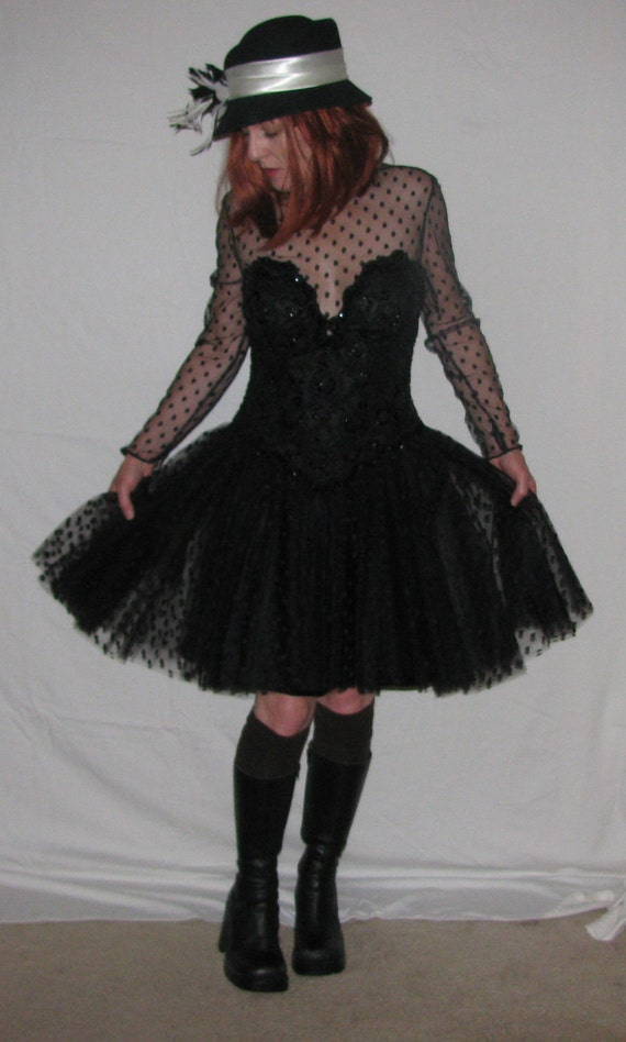 Goth Dress 80s vintage Beaded Illusion Saks Fifth Ave Julie Duroche