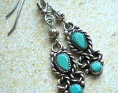Brushed Silver Earrings with Turquoise Timeless Beauty