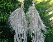 Feather Earrings with Sterling Silver Chain and Black Faceted Rondelles