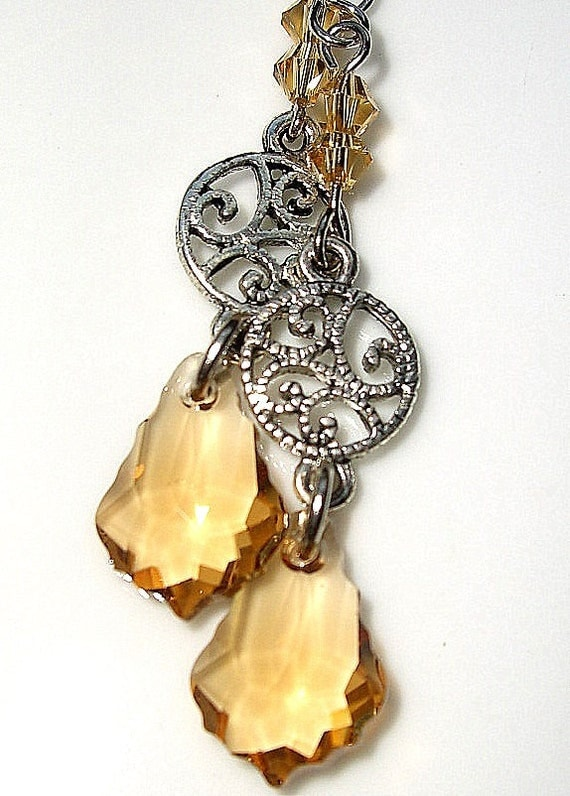 Amber Crystal Dangle Earrings with Silver Victorian Style Charm