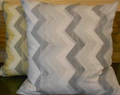 Gray and white chevron decorative pillow cover