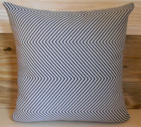 Decorative pillow cover, chevron, Charcoal grey with tan zig zag