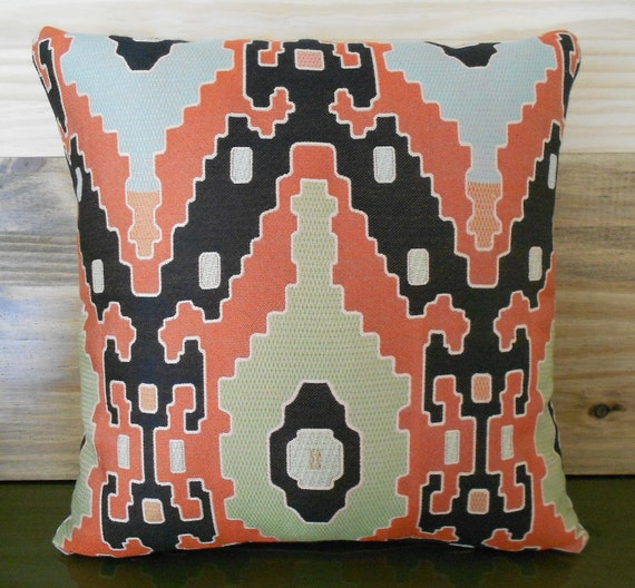 Southwestern throw pillow, coral and black decorative pillow