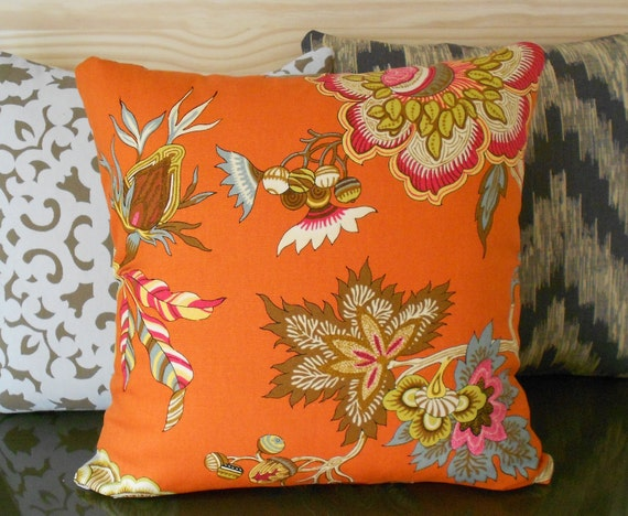 Orange Throw Pillow Multi Color Orange Floral Decorative